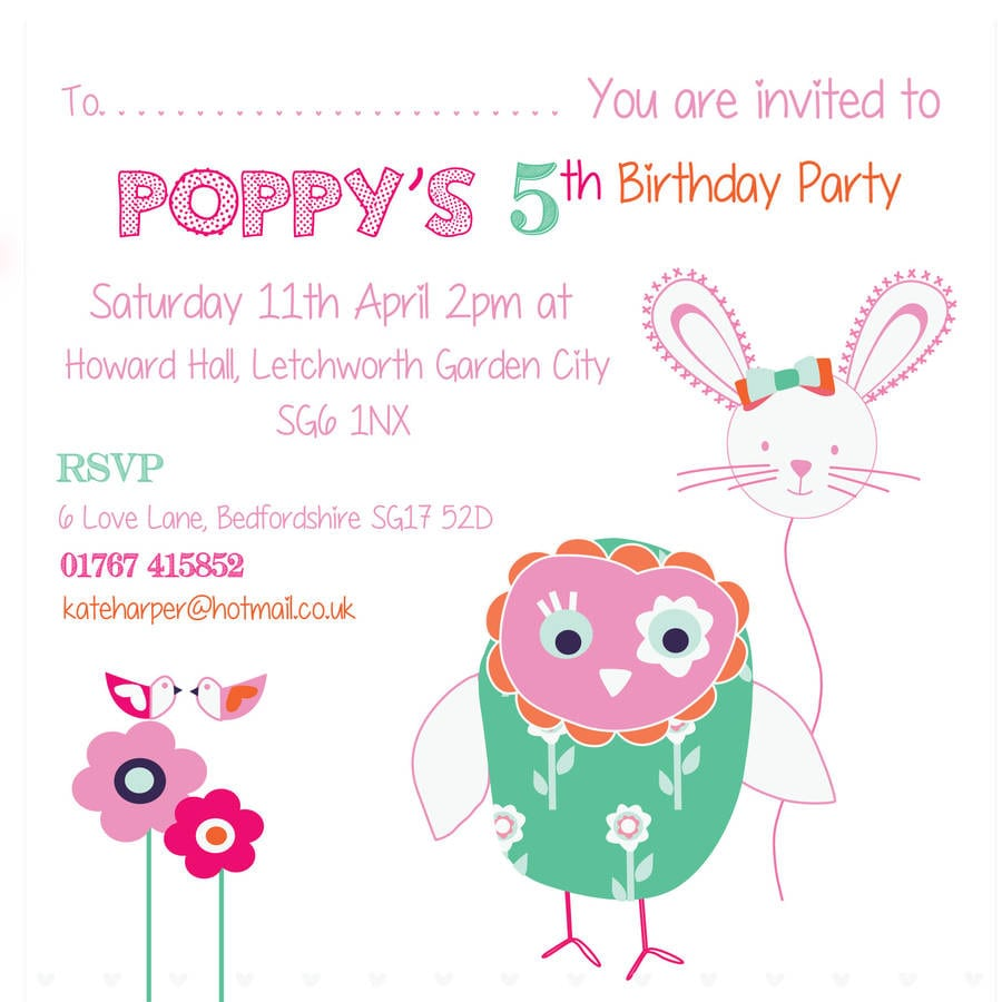 Owl And Bunny Girlie Birthday Party Invitations By Buttongirl