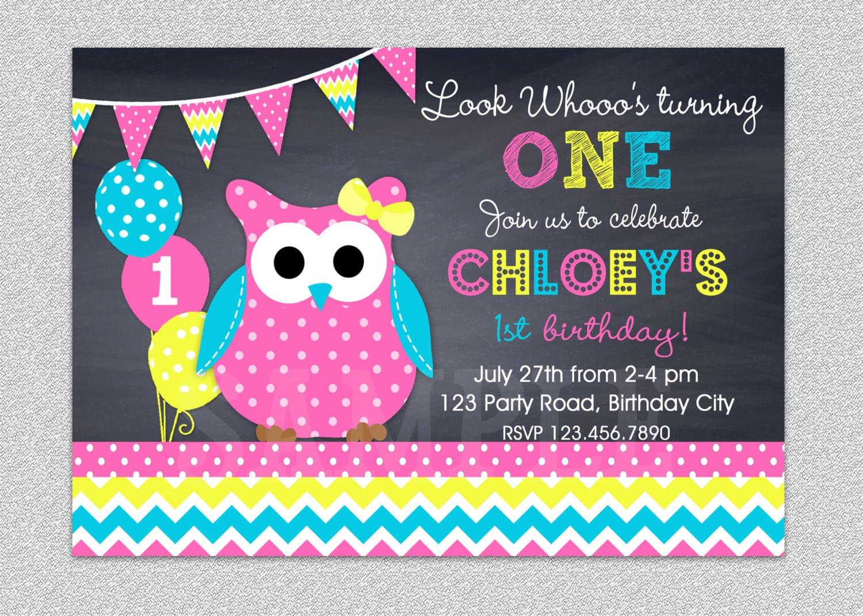 Owl Birthday Invitation Chevron Owl Birthday Party Invitation