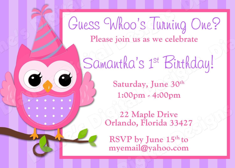 Owl Birthday Party Invitations – Gangcraft Net