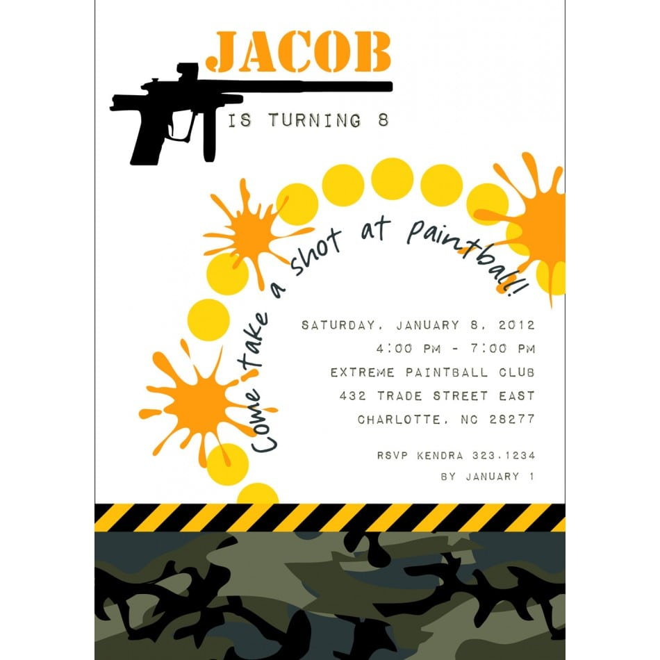 Paintball Party Invitations For A's Bday