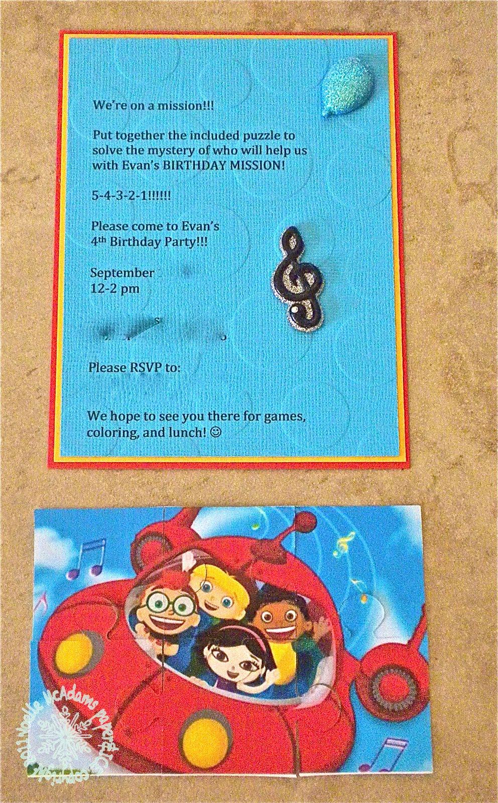 Paper & Ice  Little Einsteins Birthday Party Invitations