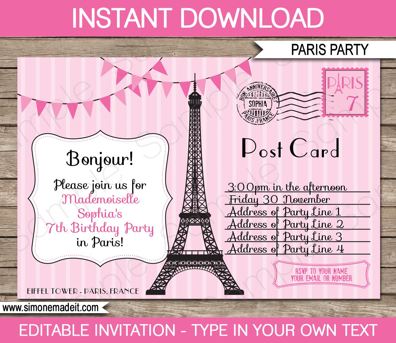 Paris Party Invitations Template