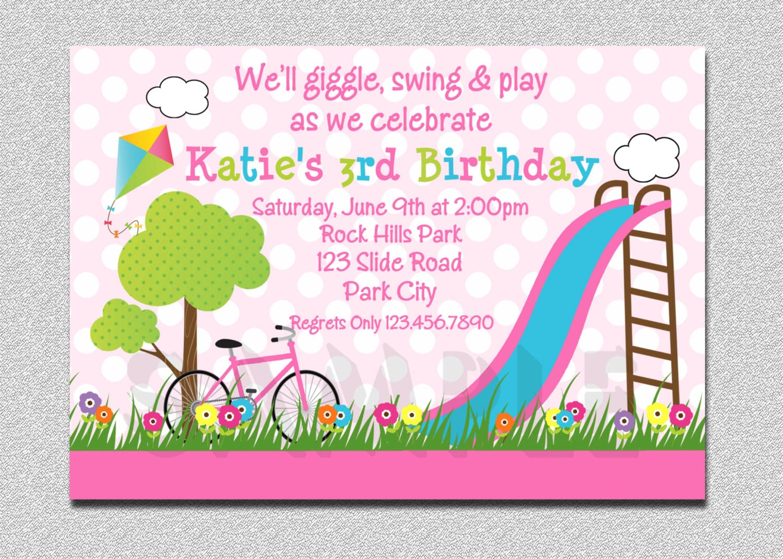Park Birthday Invitation Park Birthday Party Invitation