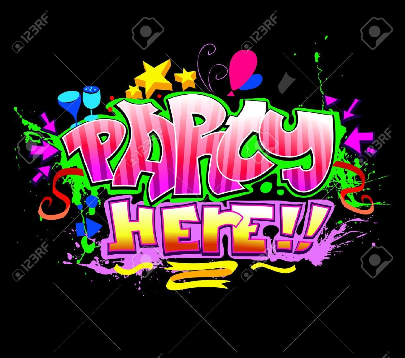 Party Here  Colorful Vector Invitation Background Royalty Free