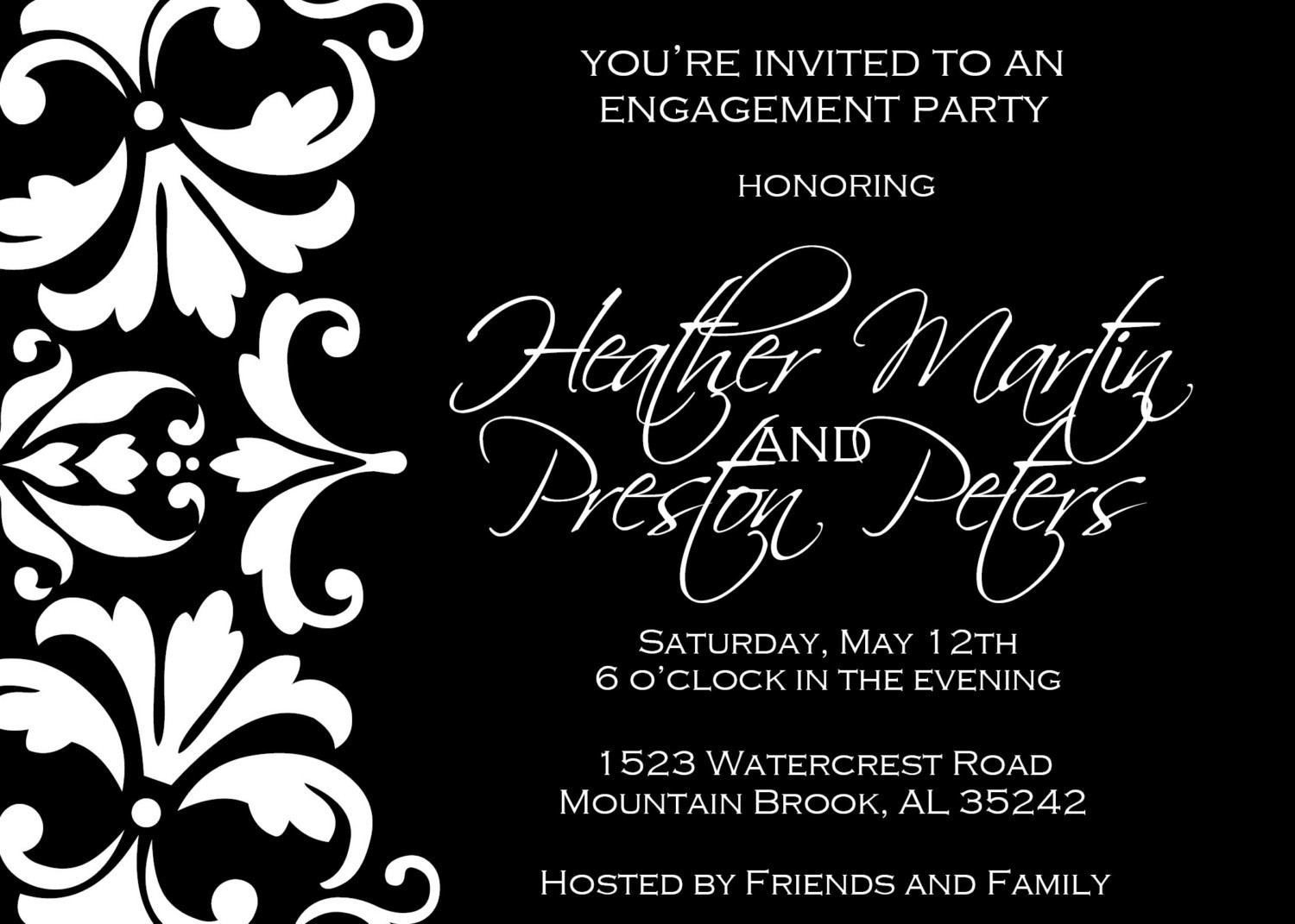 Party Invitation Black And White