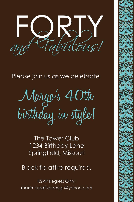 Party Invitations 40th Birthday