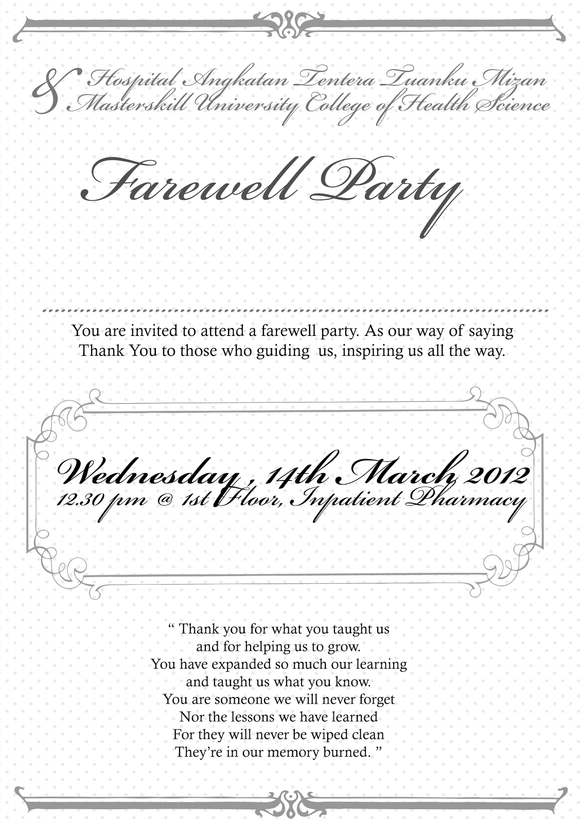 Invitation Wording For Farewell Party