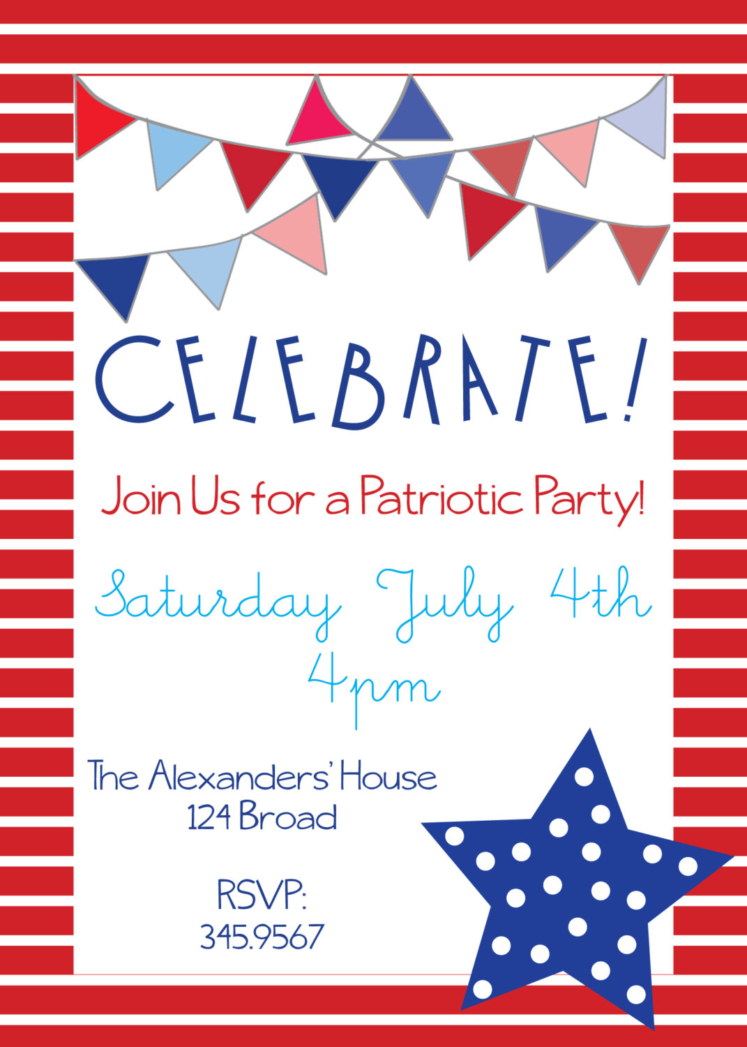 Patriotic Party Invitations For Memorial Day 4th Of By Nikkihodum