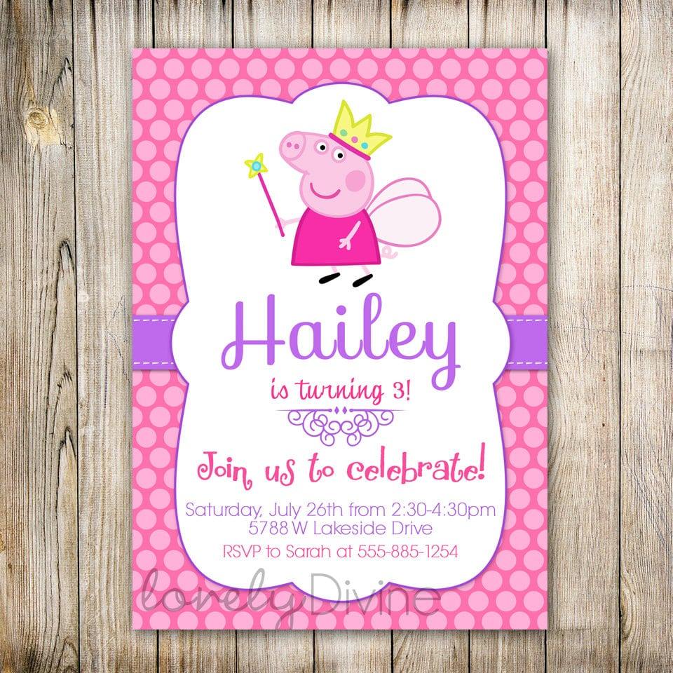 Peppa Pig Birthday Invitations Perth