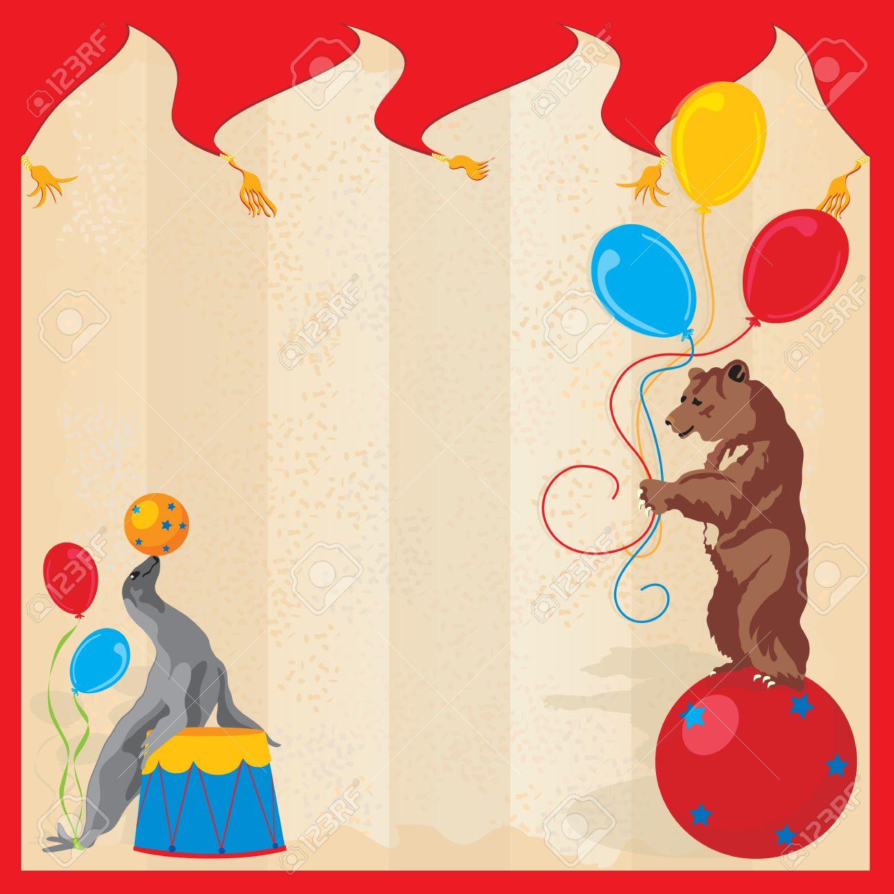 Performing Animals Circus Birthday Party Invitation Royalty Free