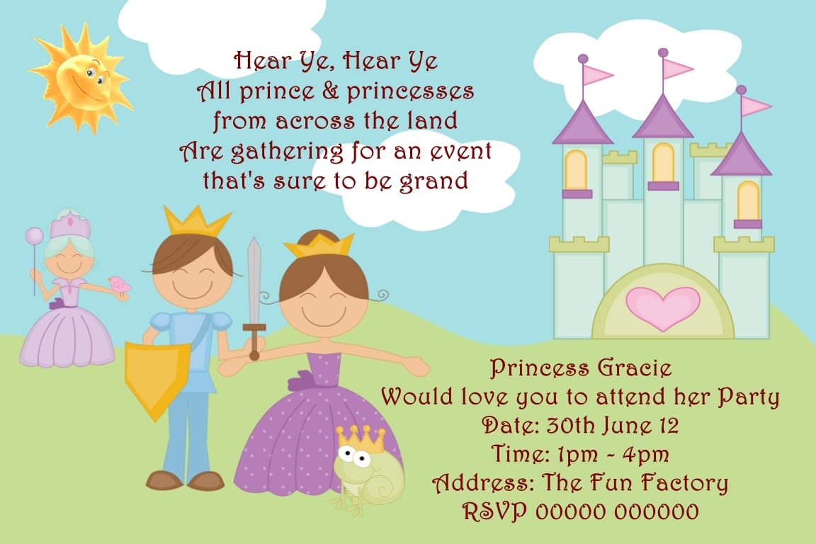 Personalised Birthday Party Invitations Prince And Princess