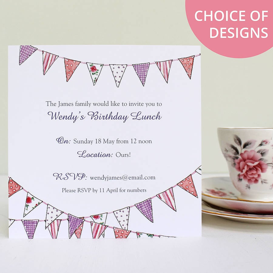 Personalised Bunting Party Invitations By Love Give Ink