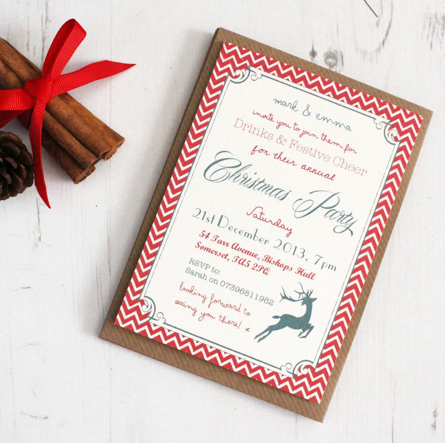 Personalised 'christmas Party' Invitations By Precious Little Plum