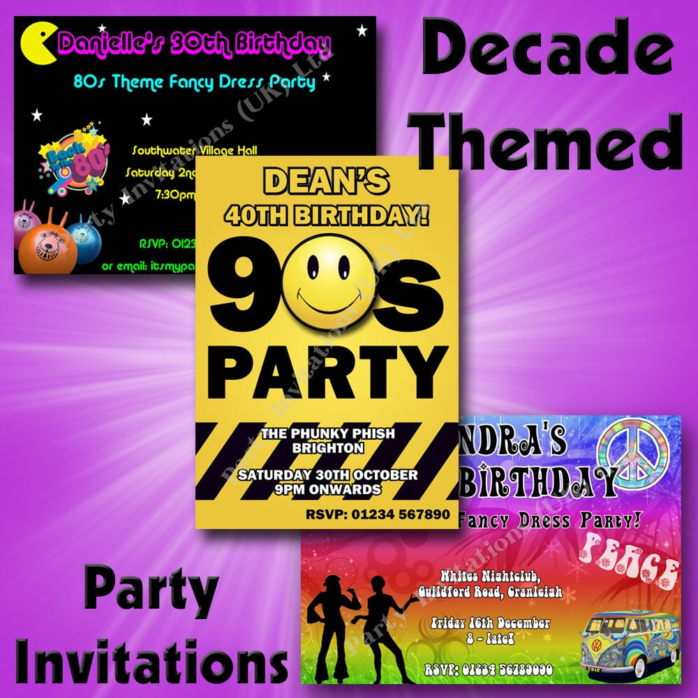 Personalised Decade Themed Birthday Hen Party Invitations 50s 60s