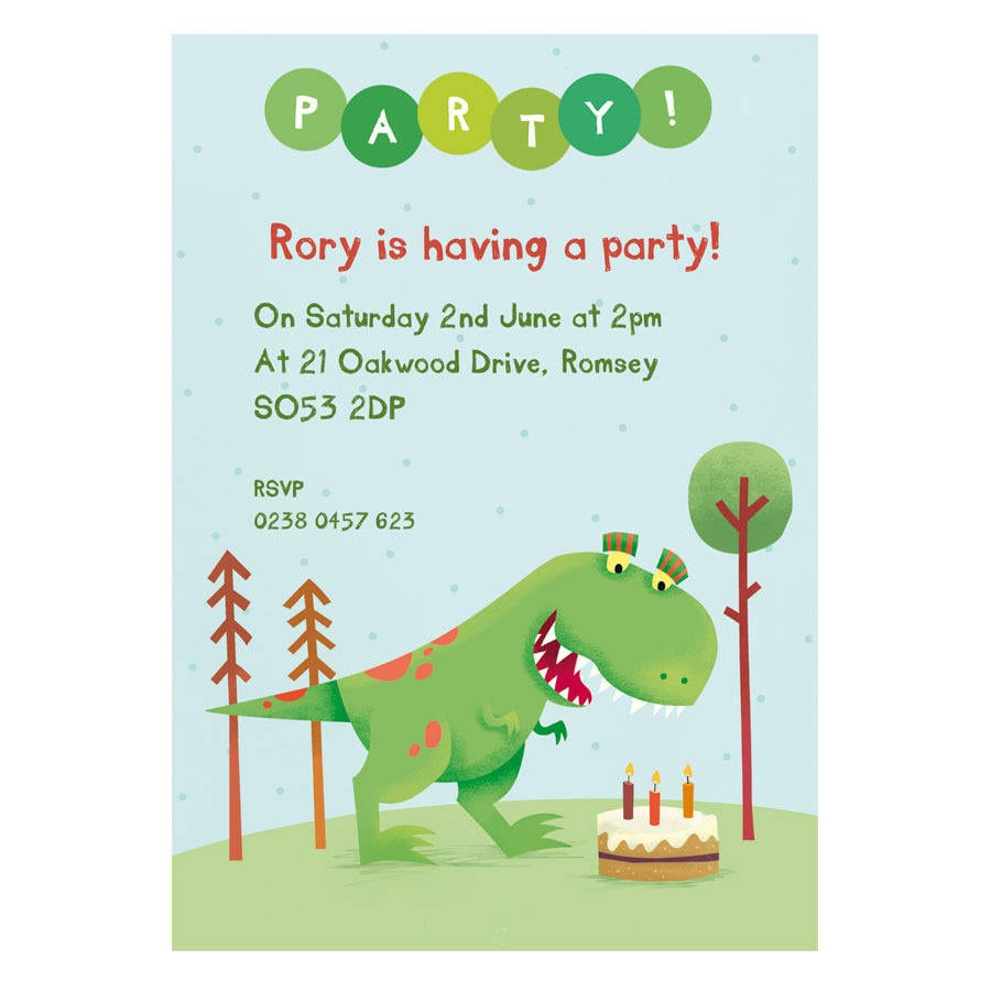 Personalised Dinosaur Party Invitations By Made By Ellis