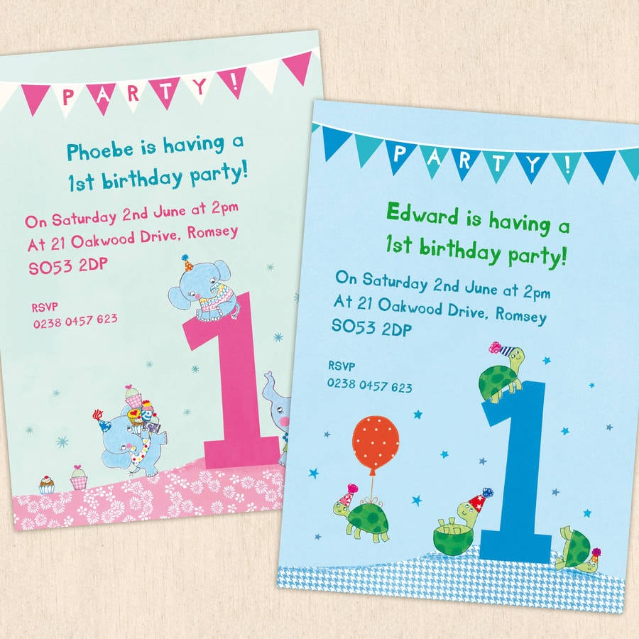 Personalised First Birthday Party Invitations By Made By Ellis