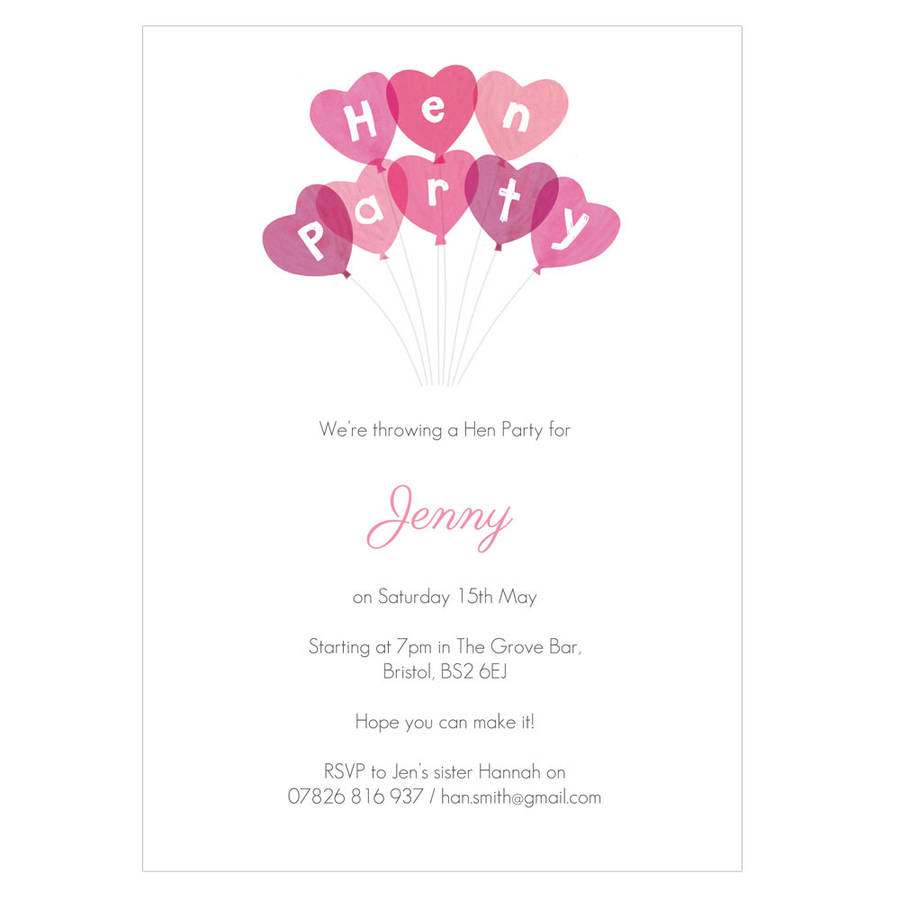 Personalised Hen Party Invitations By Made By Ellis