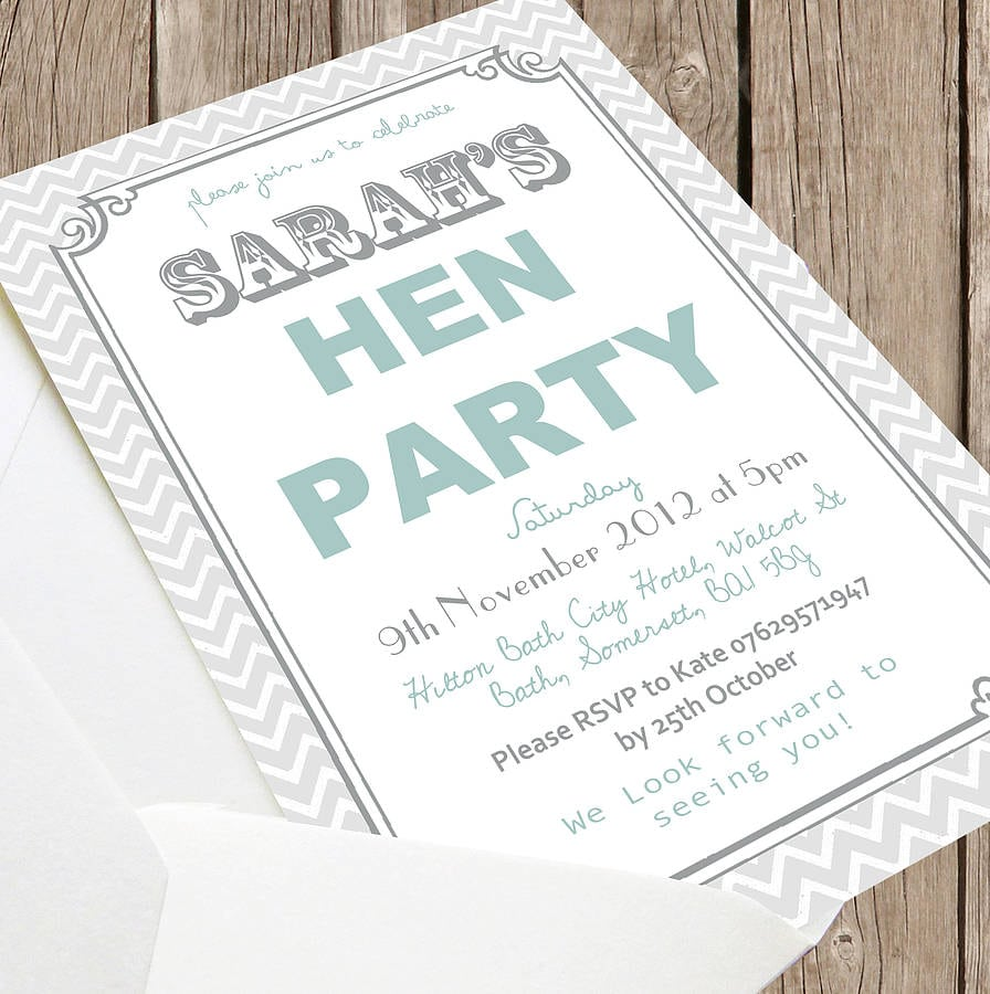 Personalised 'hen Party' Invitations By Precious Little Plum