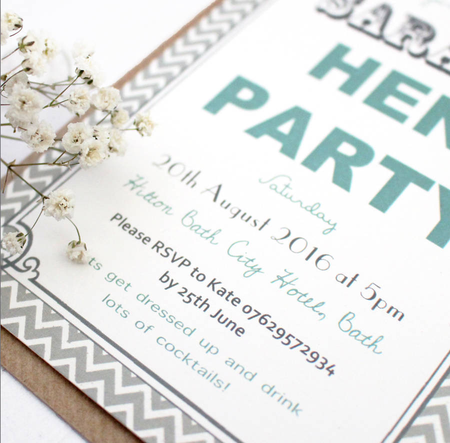 Personalised 'hen Party' Invites By Precious Little Plum