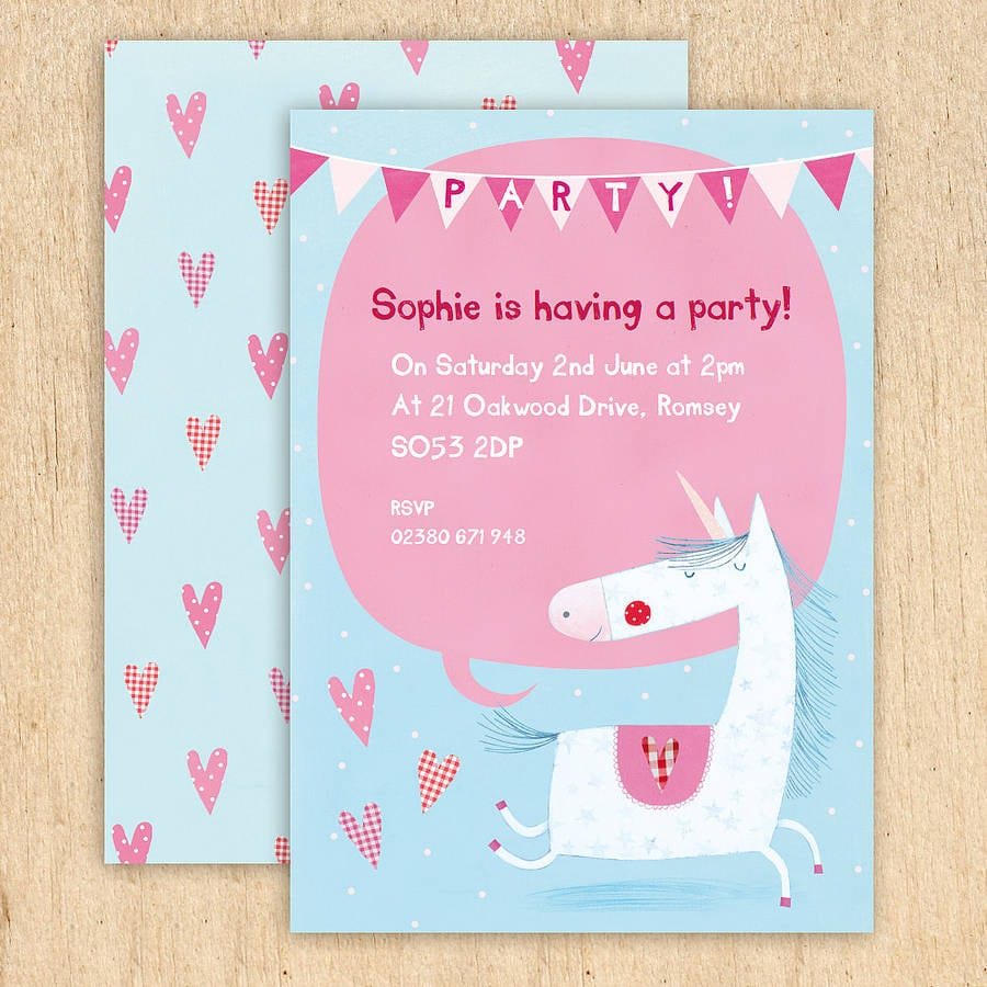 Personalised Unicorn Party Invitations By Made By Ellis