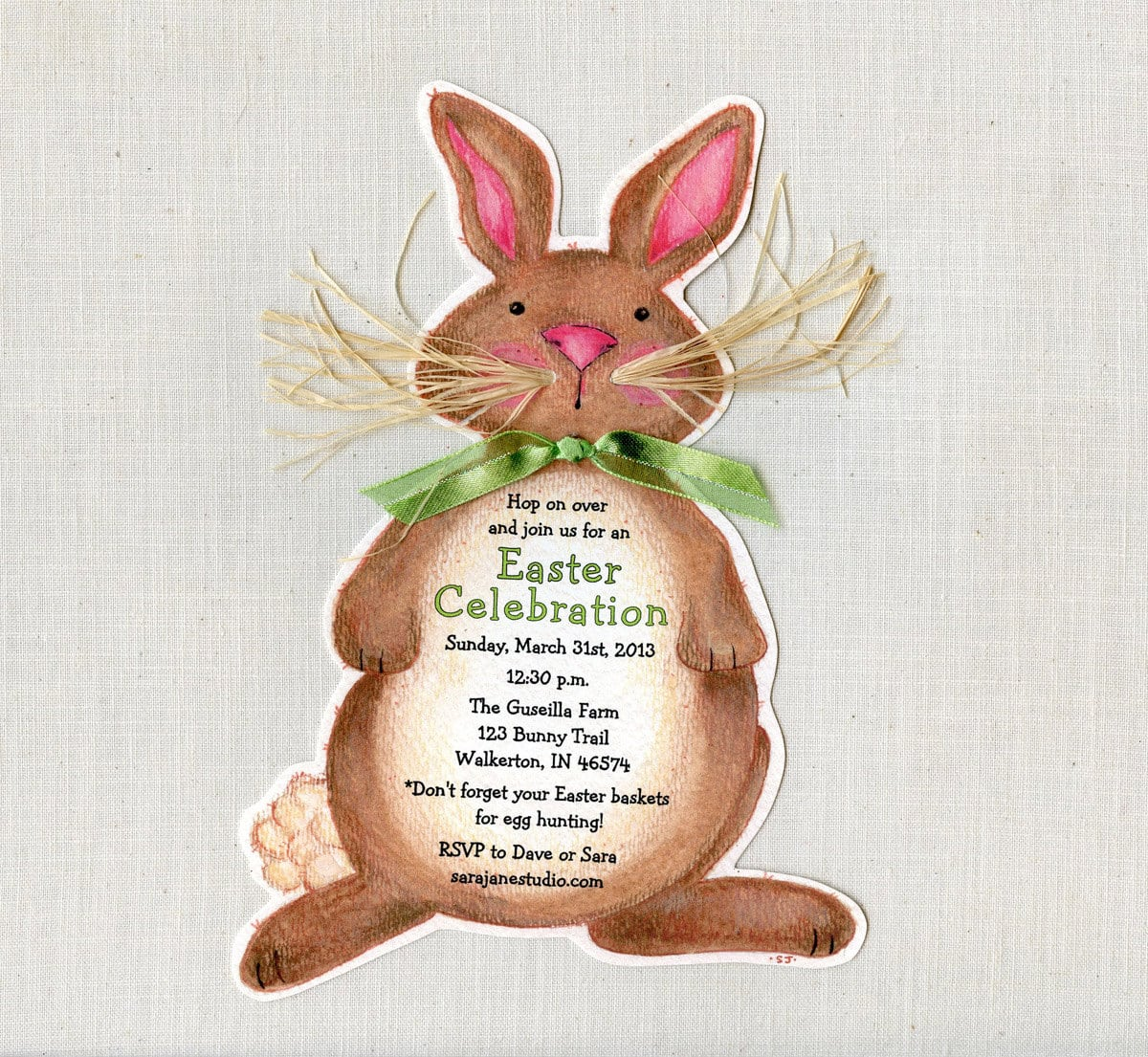 Personalized Easter Bunny Birthday Party Invitations