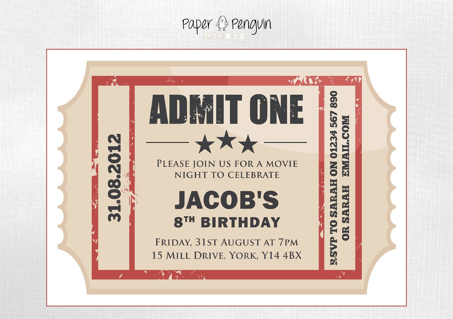 Personalized Kids Movie Ticket Party Invitation