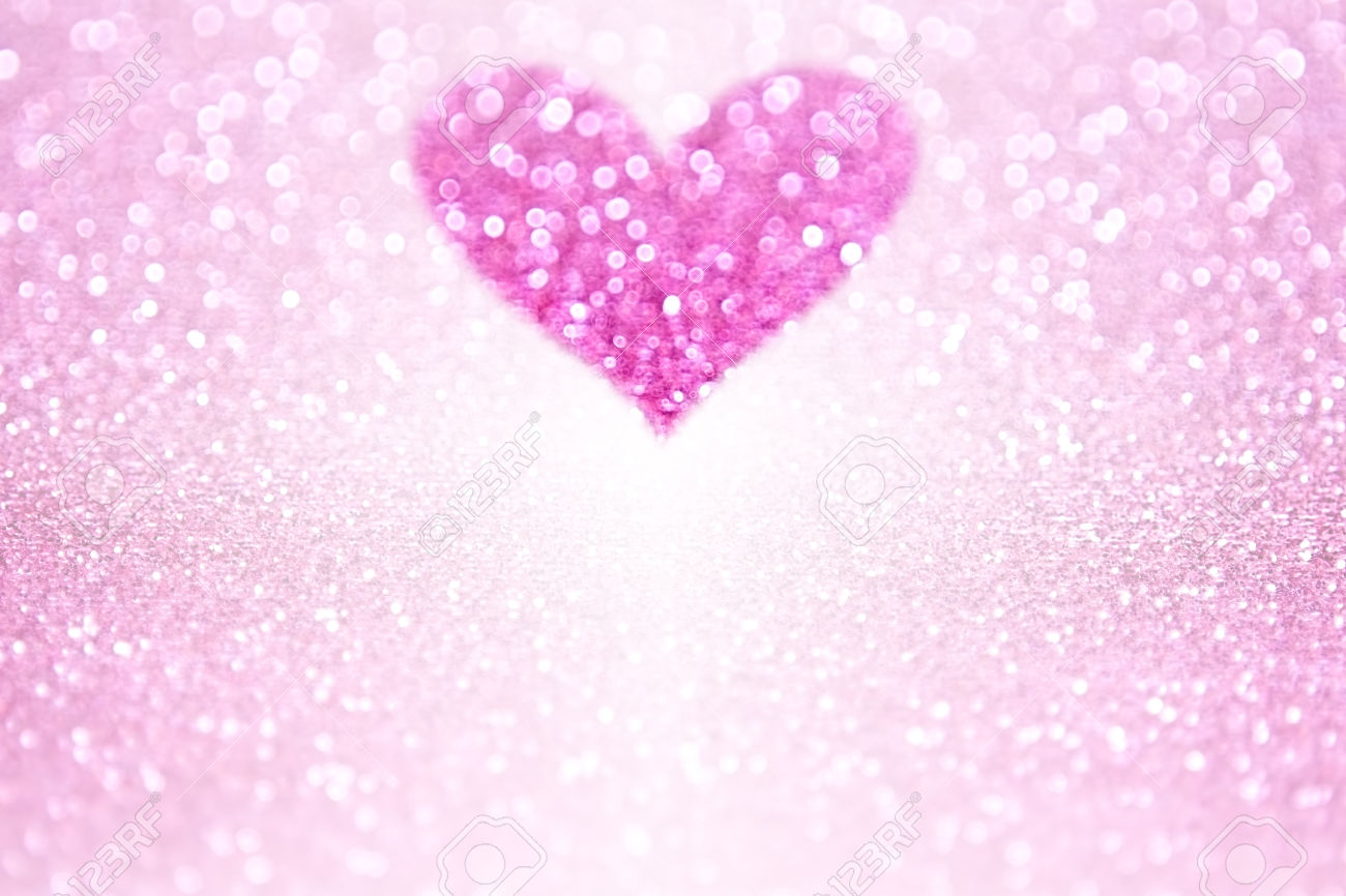 Pink Glitter Sparkle Heart Background For Valentine's Day Or