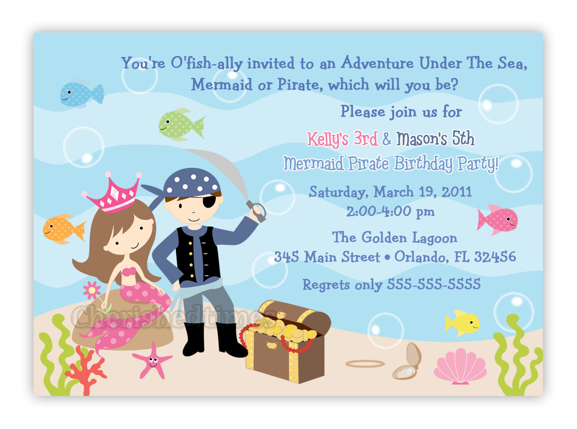 Mermaid And Pirate Birthday Party Invitations - Mickey Mouse ...