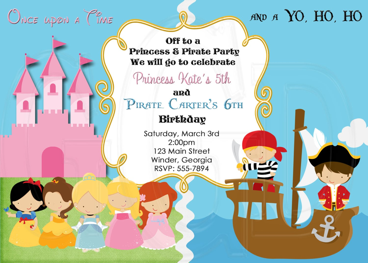 Princess And Pirates Party Invitations