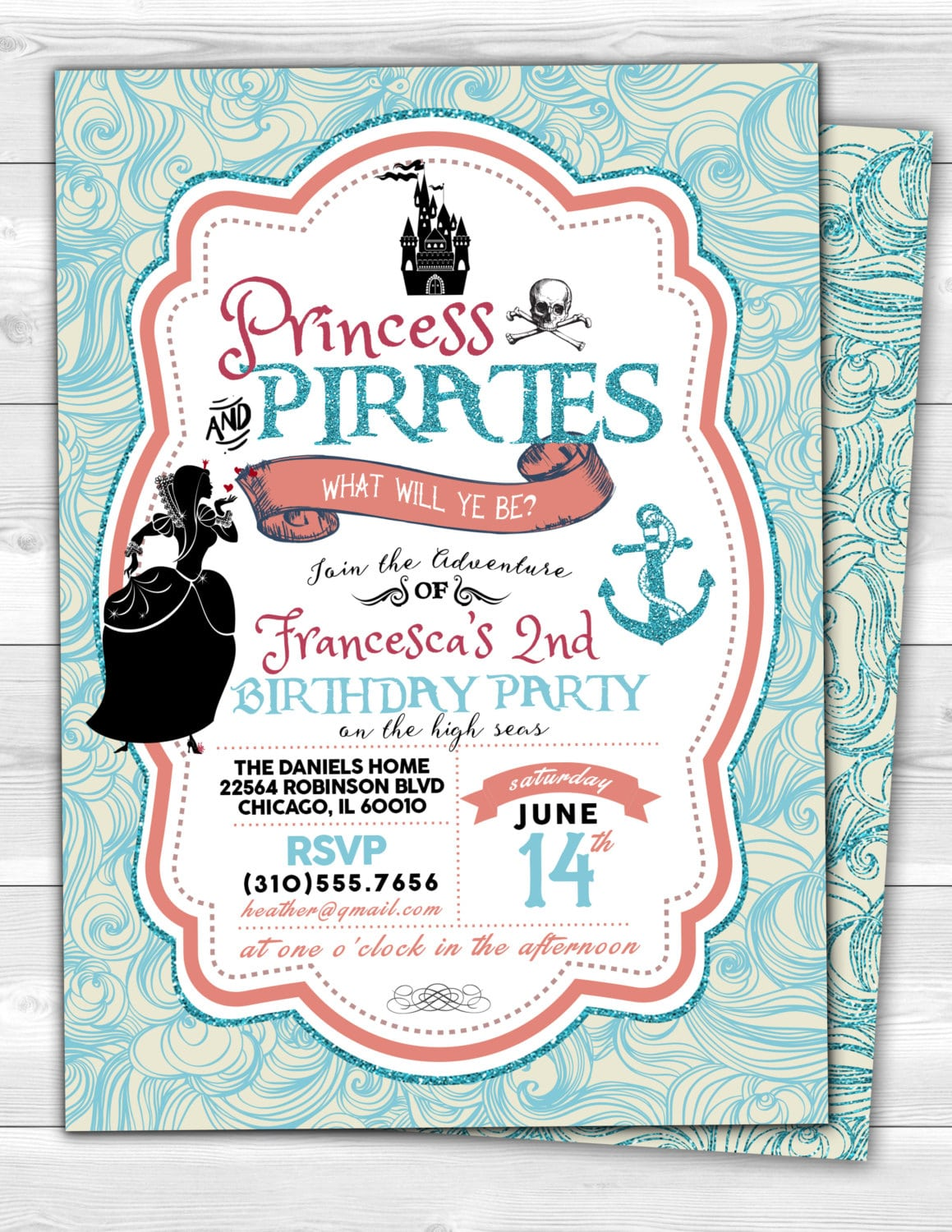 Princess And Pirates Party Invitations - Mickey Mouse Invitations ...