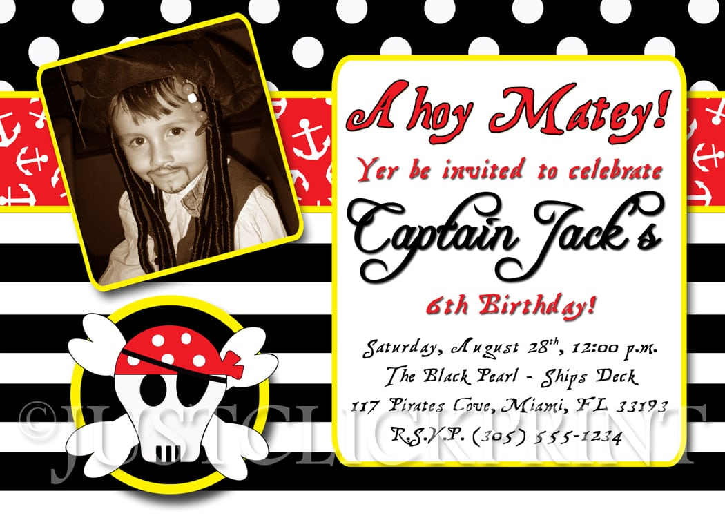 Pirate Birthday Party Invitations – Gangcraft Net