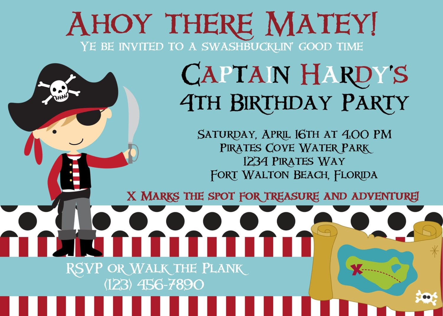 Pirate Invitation 5x7 Birthday Party Boy Printable