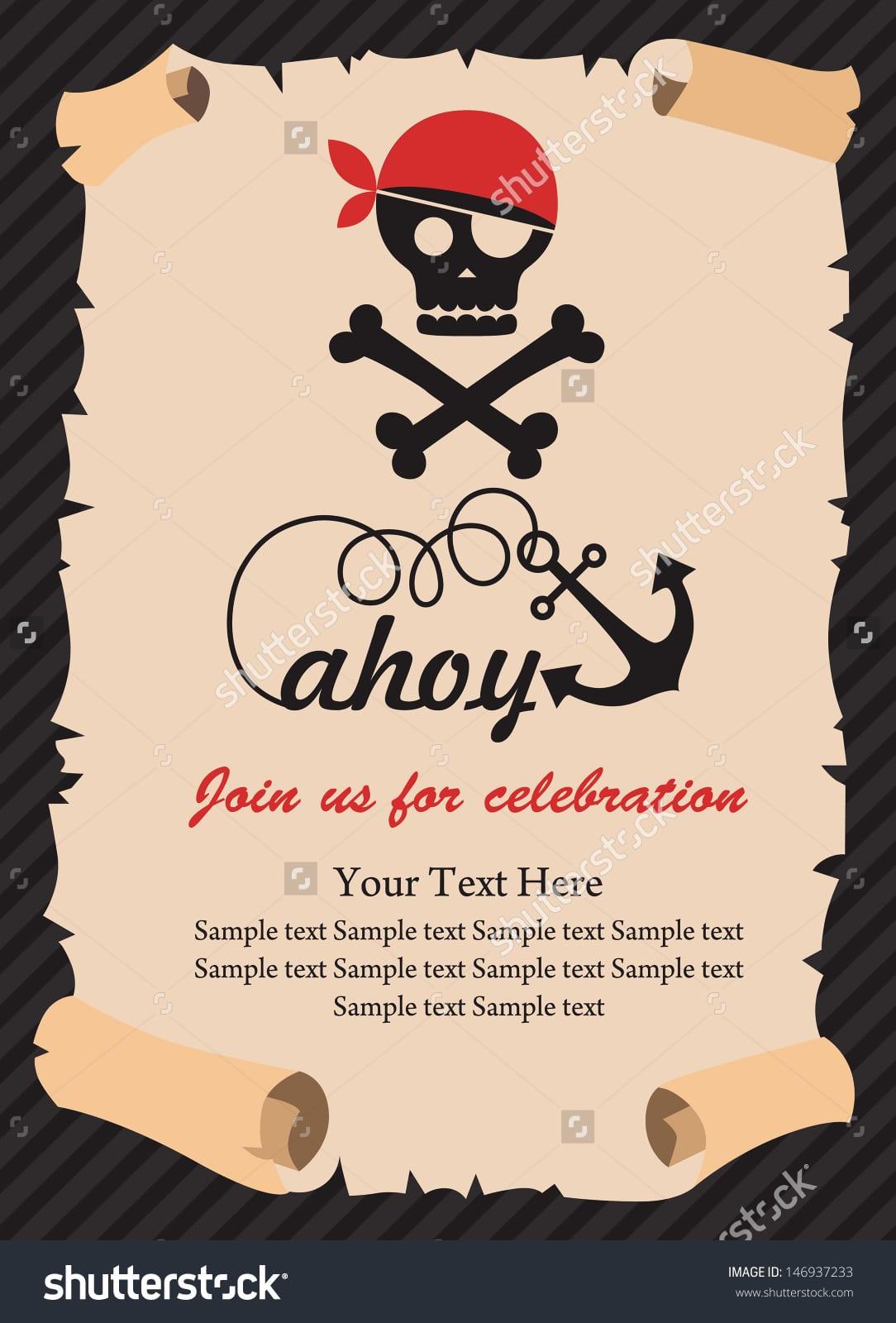Pirate Party Invitation Card Design Vector Stock Vector 146937233