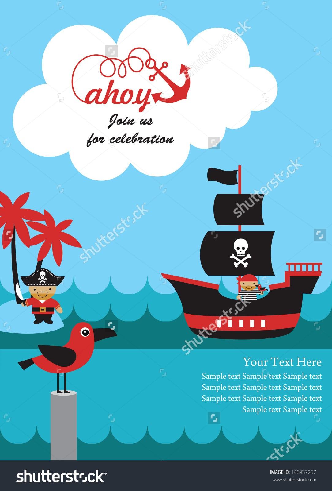 Pirate Party Invitation Card Design Vector Stock Vector 146937257