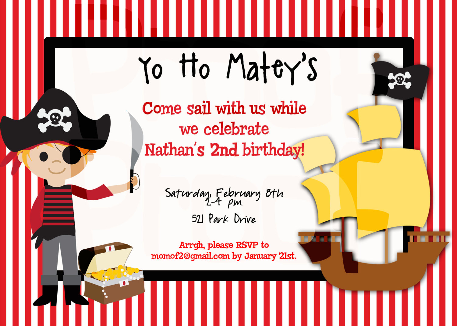 Printable pirate party decorations amp supplies free templates -  Pirate Party Invitations