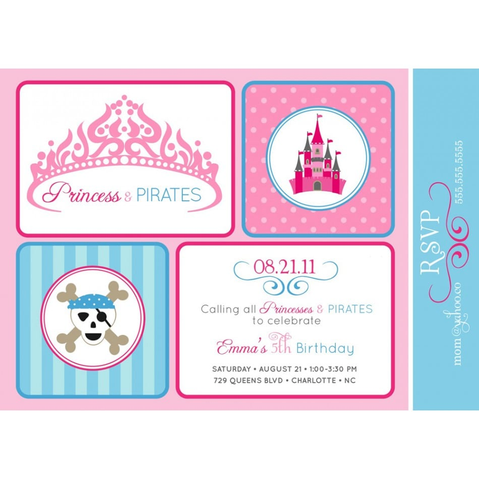 Princess And Pirates Party Invitations Mickey Mouse Invitations – Princess Party Invitations Templates