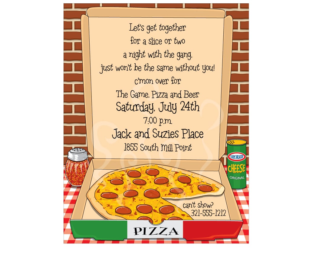 Pizza Party Invitations - Mickey Mouse Invitations Templates