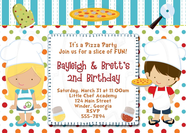 Pizza Party Invitation Boy Or Girl Digital File