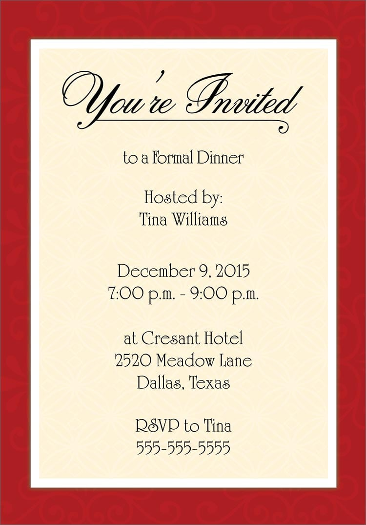 Plain Dinner Party Invitation Template Free Download 8 Given