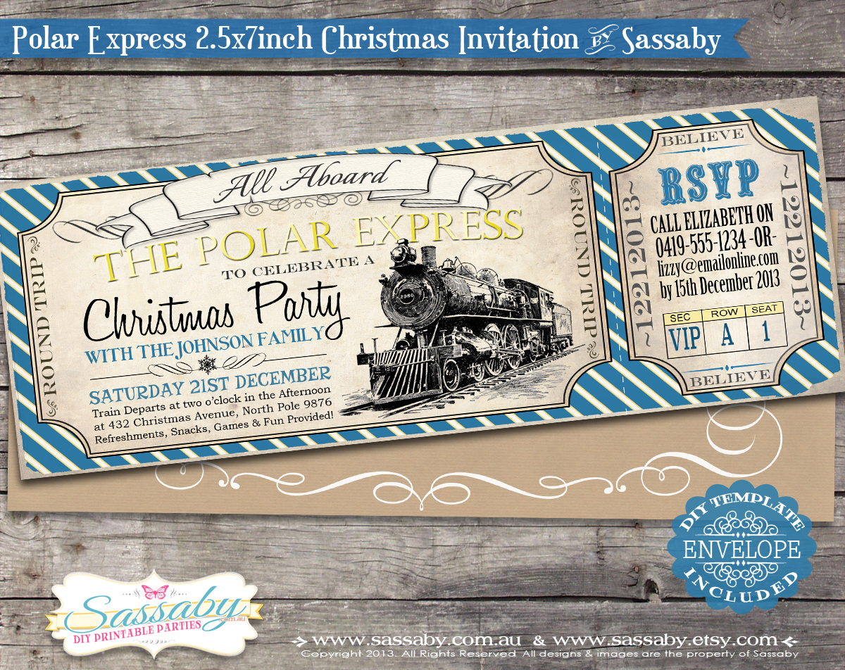 Polar Express Christmas Party Invitation Blue