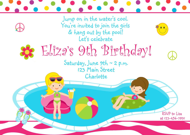 Pool Party Birthday Invitations
