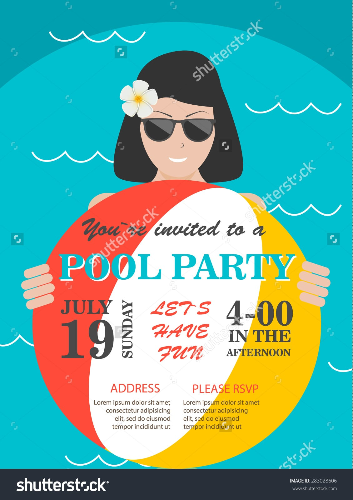 Pool Party Invitation Flyer Smiling Woman Stock Vector 283028606