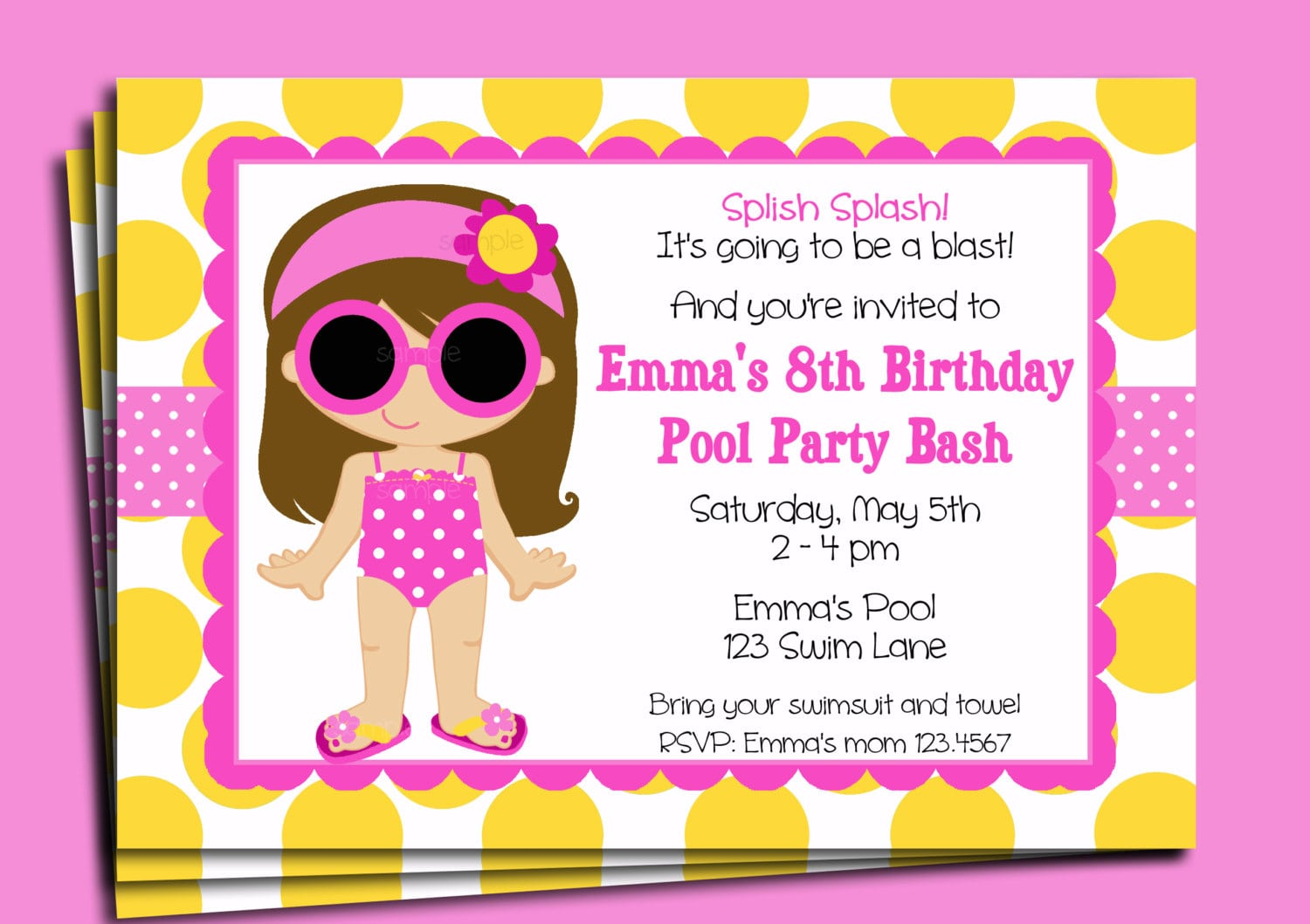 Pool Party Invitation Printable Or Printed With Free Shipping