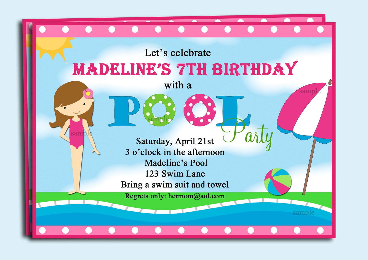 Pool Party Invitations Clipart