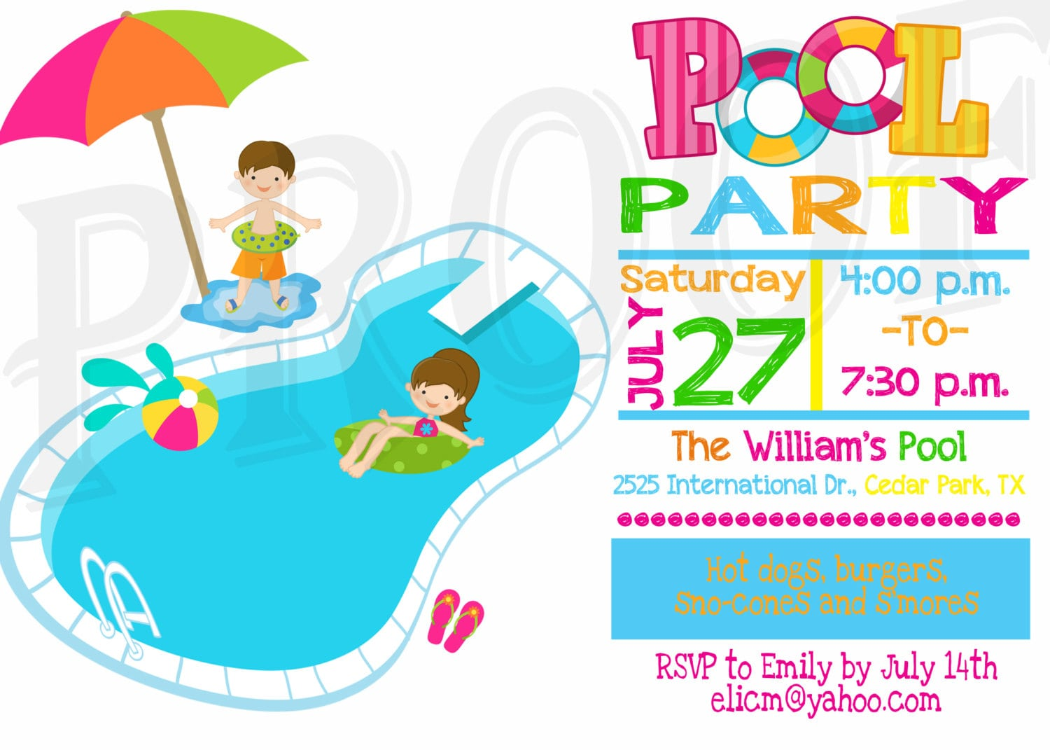Pool Party Invitations For Teenagers Blank Grand
