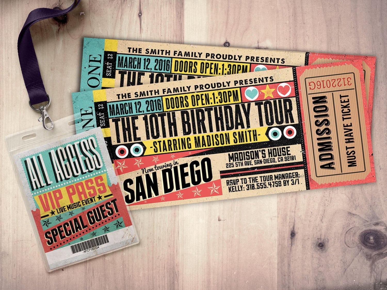 Pop Star, Rock Star Concert Ticket Birthday Party Invitation