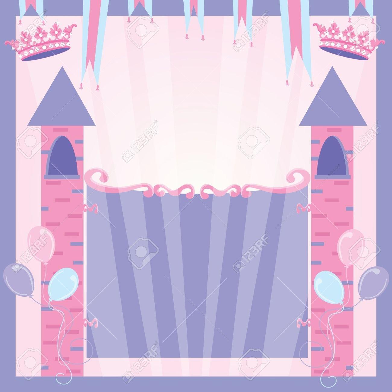Princess Birthday Party Invitation Castle Royalty Free Cliparts