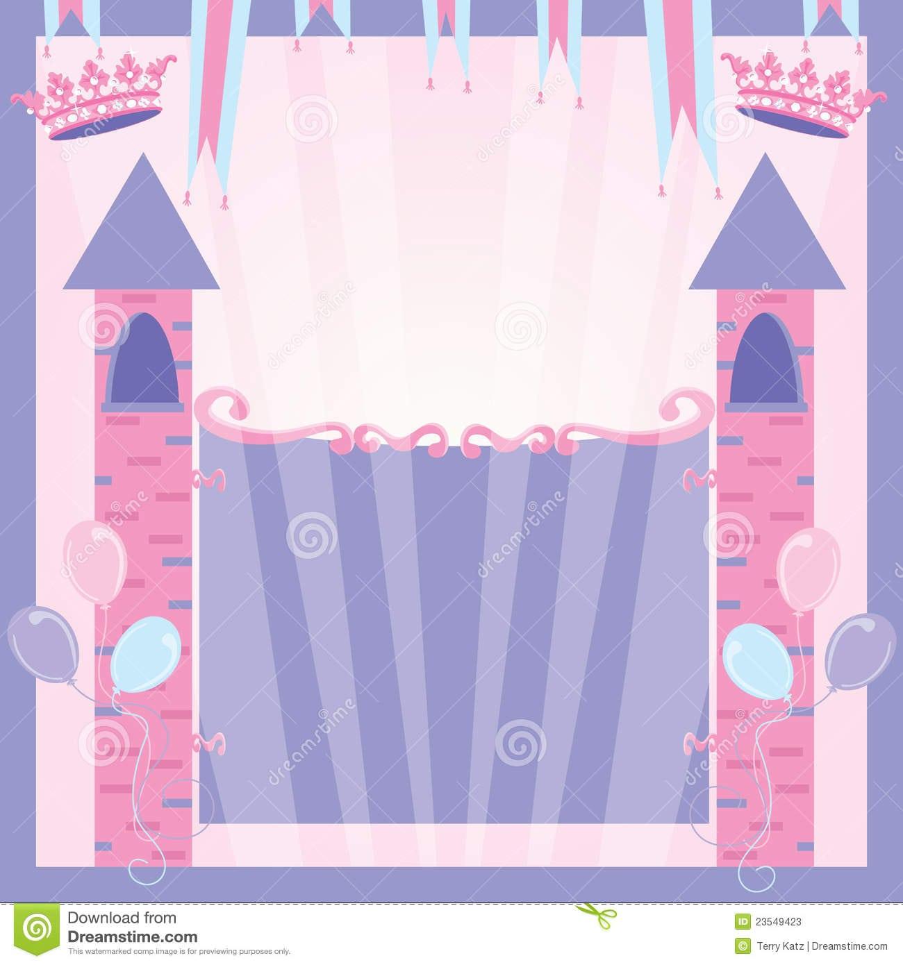 Princess Birthday Party Invitation Castle Stock Photos