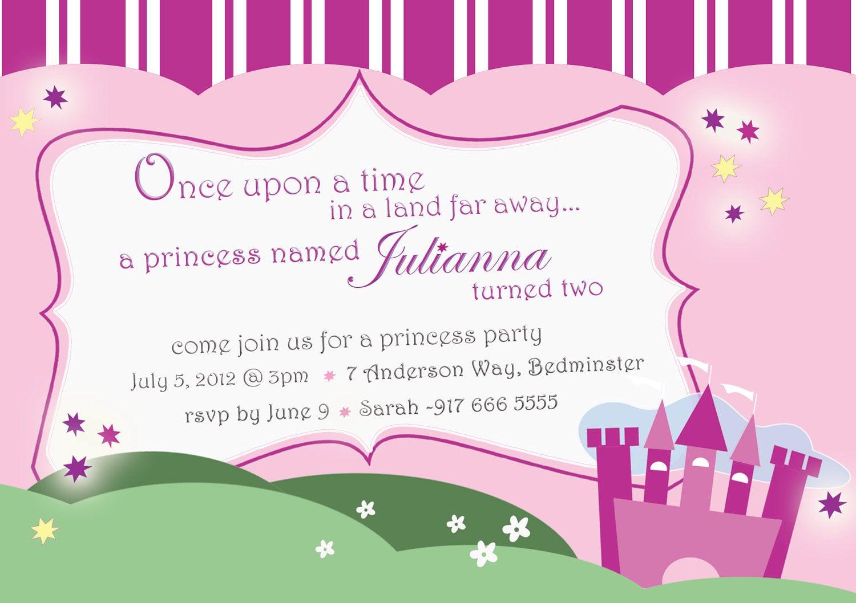 Princess Birthday Party Invitations Castle