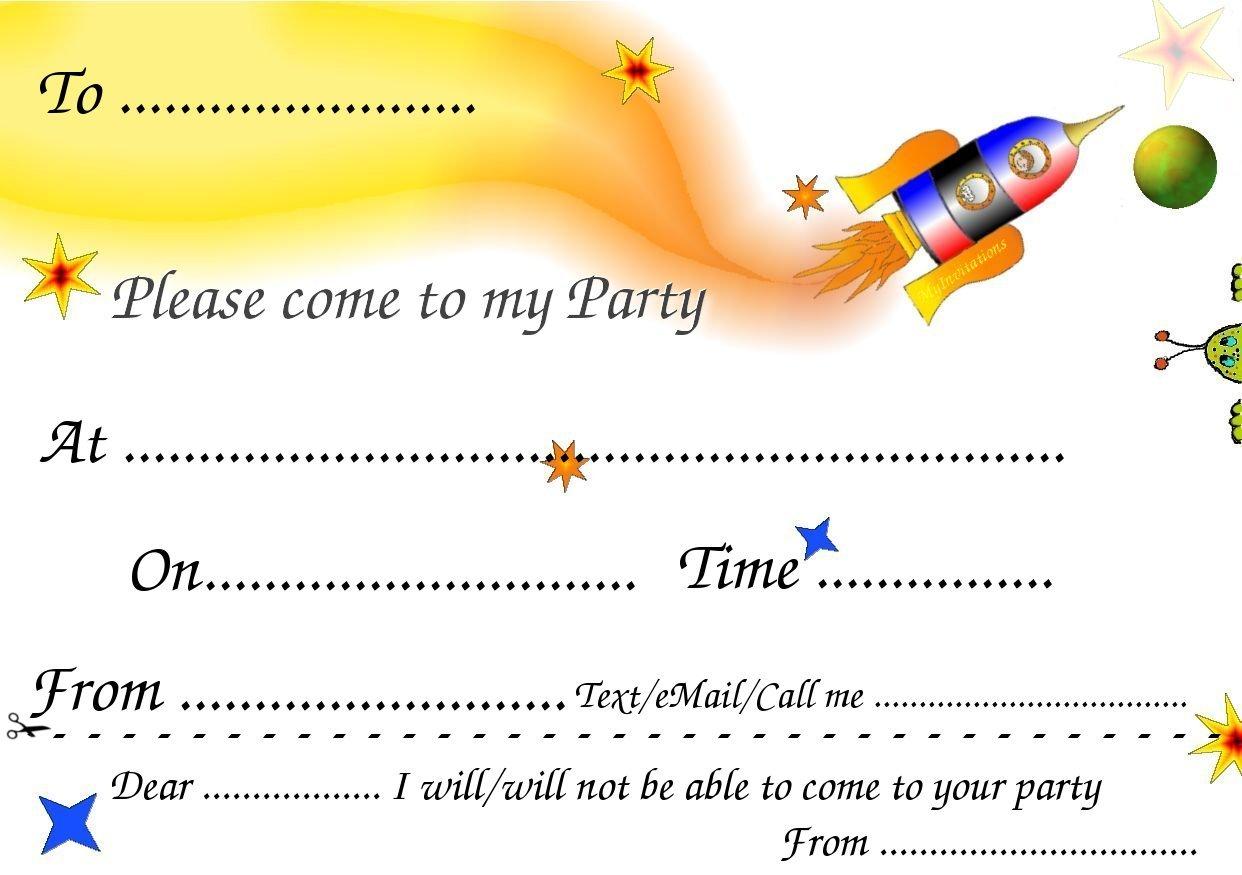 Printable Birthday Party Invitation Cards Alluring Printable